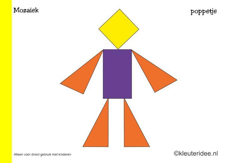 Mozaiek voorbeeldkaarten voor kleuters 8, poppetje, kleuteridee.nl , Preschool mosaic patterns, free printable.