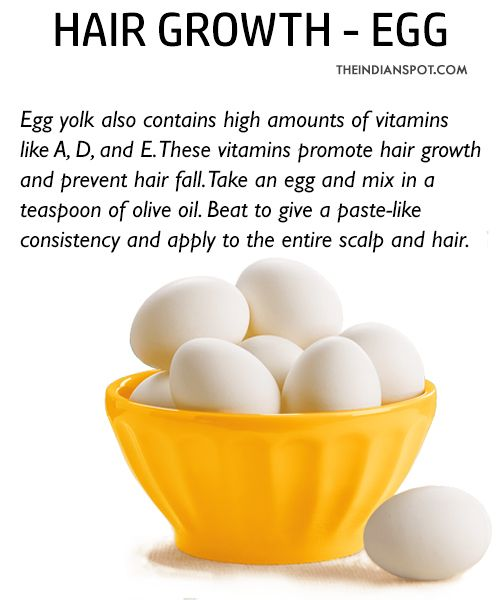 Egg for hair growth: Egg work like magic for healthy hair. Eggs are wonder-foods as they are rich in protein, vitamins, essential fatty acids and antioxidants. You will need to beat two eggs, apply it to your hair and leave it on for an hour. Wash it off with shampoo to replenish hair and restore its softness and shine. Conditioning your hair with eggs enhances hair growth because eggs contain lots of protein. DIY EGG SHAMPOO RECIPE - FOR SOFTER, SMOOTHER AND STRONGER HAIR Hot Oil for hair…
