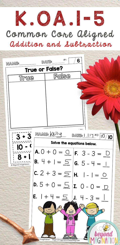 Koa1 Koa2 Koa3 Koa4 And Koa5 Common Core Aligned Worksheets For Addit Kindergarten Math Worksheets Addition Kindergarten Math Kindergarten Math Worksheets [ 1500 x 735 Pixel ]