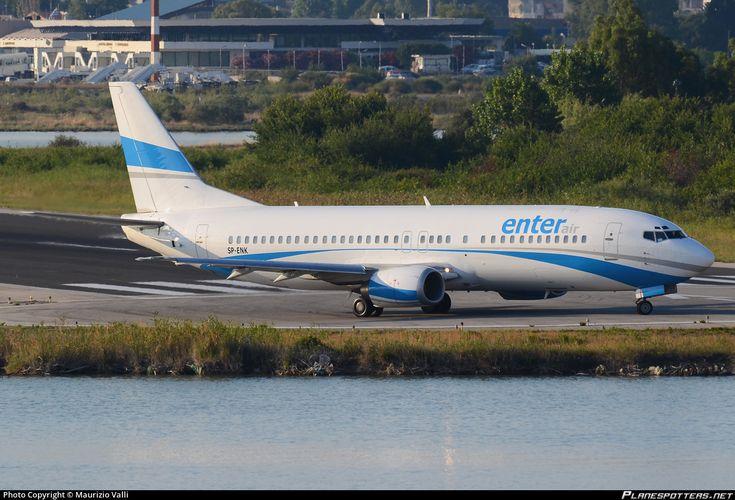 Enter Air Boeing 737-46J SP-ENK aircraft,  skating at Greece Kerkyra-Ioannis Kapodistrias International Airport. 09/07/2013.
