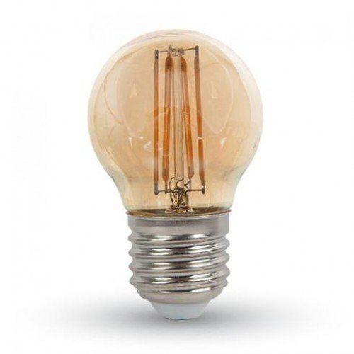 LED lámpa , égő , izzószálas hatás , kisgömb , E27 foglalat , 4 Watt , meleg fehér , borostyán sárga , vintage