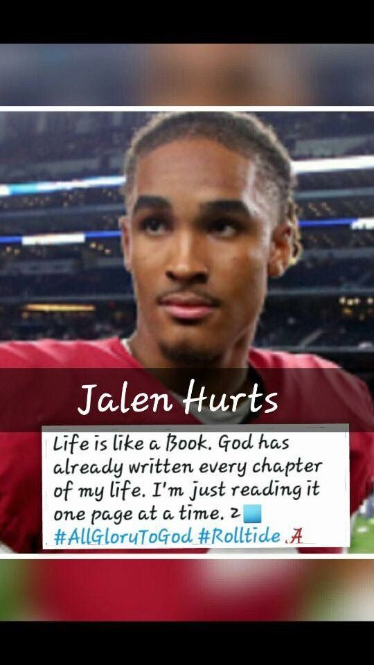 This is not only a great player but an excellent man. And a great example for others. #RollTide #JalenHurts
