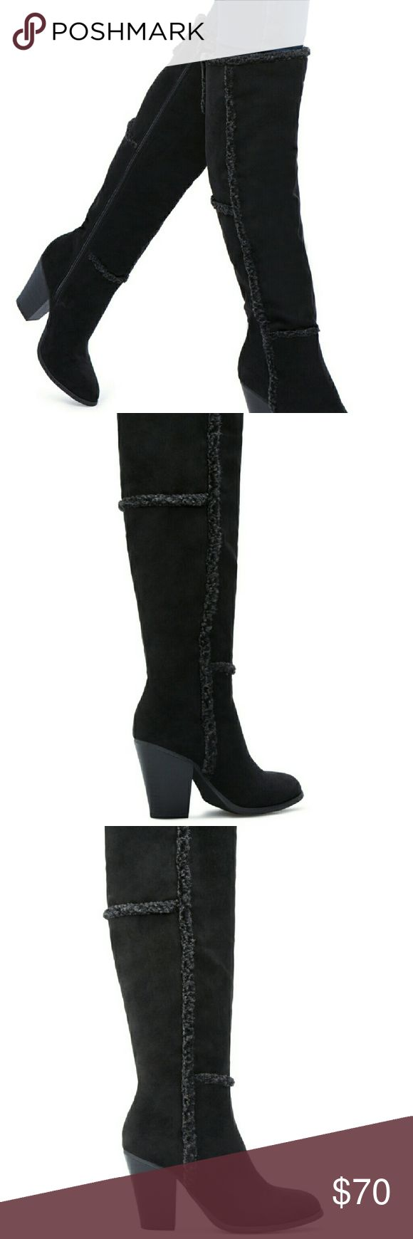 """Brand New Boots These are also packed in the box, i never took them out. Its made of Faux-suede -shearling.  The heel is 3.5"""" tall. Calf is 14.5 inches, has front closure, inner zipp. Adorable **** Shoe Dazzle Shoes Heeled Boots"""