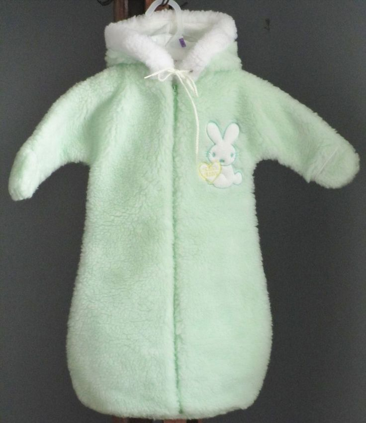 Baby Bunting Hooded Pastel Green Honey Bunny Vtg Easter Snowsuit Coat 6-12mo #Unbranded #Bunting #Holiday