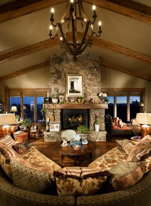 Floor to Ceiling Rock Fireplace...love the windows, floors, and fireplace!!