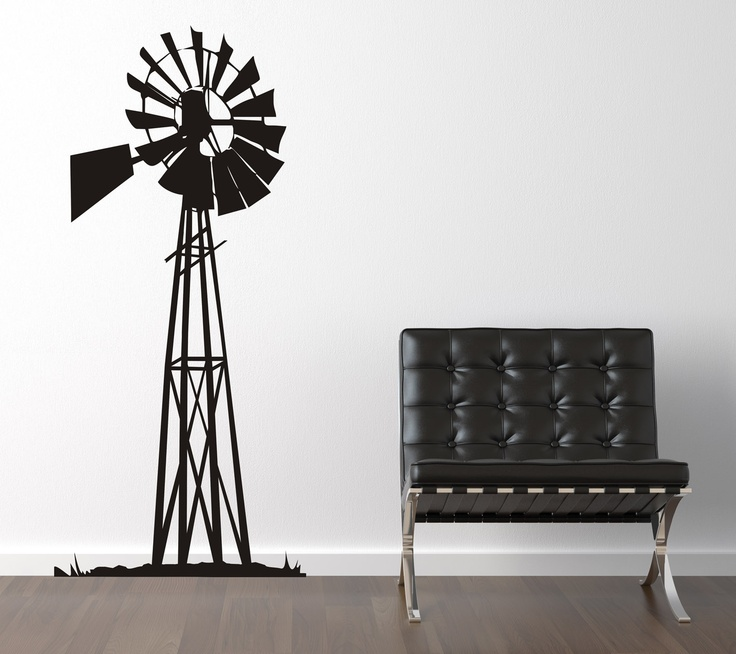 Country life! Bring the outdoors inside ... black windmill vinyl art!