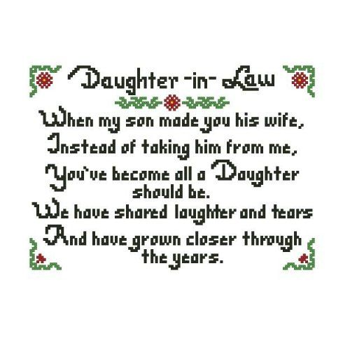 Daughter In Love Quotes: Daughter In Law Cross Stitch Pattern .pdf