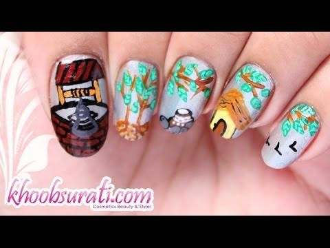 Village Scene Nail Art Design