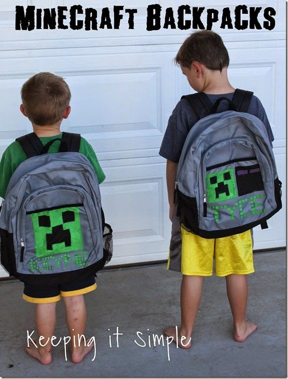 Keeping it Simple: Minecraft Idea: DIY Minecraft Backpacks created with the Silhouette and stencil vinyl/fabric ink