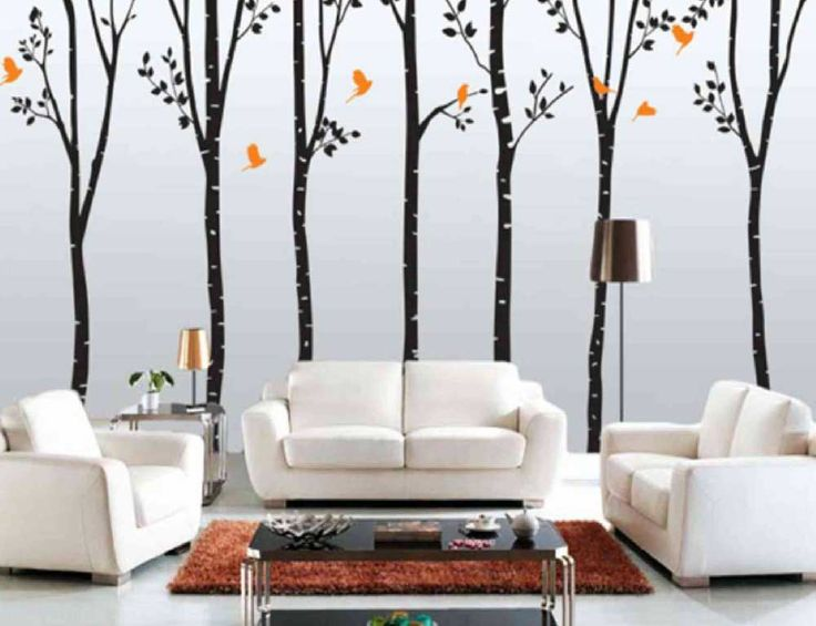 house painting pattern for living room with pattern of black tree and yellow bird