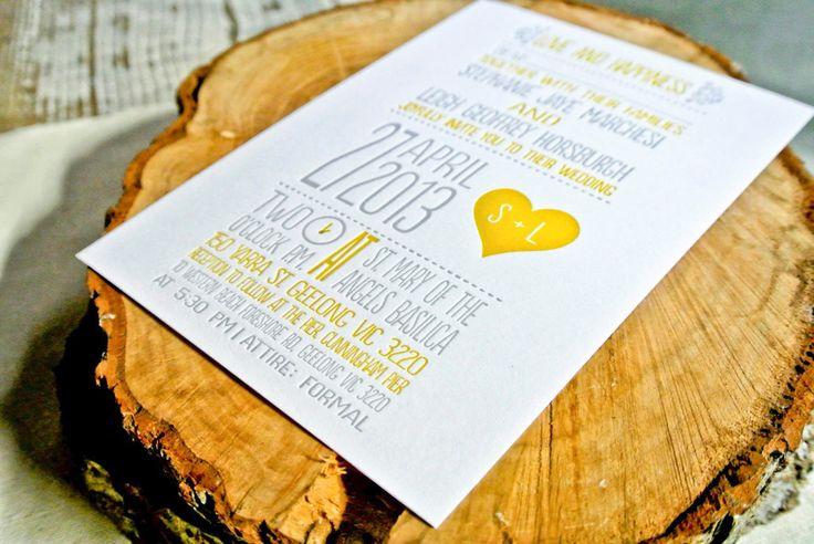 Letterpress Wedding Invitation : Yellow and Gray Whimsical Heart. $4.00, via Etsy.
