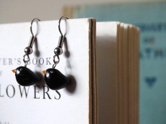 By the Shed Blackbird DROP Earrings  Dangle Hanging Hook