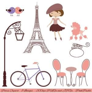Paris Clip Art Clipart, with Eiffel Tower, Cafe, Girl, Poodle, Love Bids, Bicycle - Commercial and Personal Use. $5.00, via Etsy. by carlani