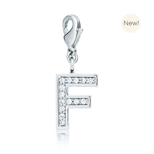Letter F Initial Charm with Cubic Zirconia Rhodium Plated