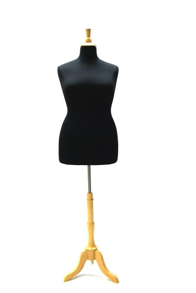 Size 18/20 Black Jersey Plus Size Body Form with Natural Wooden Tripod – Mannequin Madness