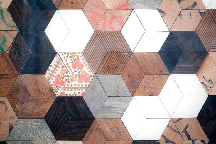 Hexagonal parquet floor - Controprogetto, Milan, Italy //// http://www.controprogetto.it/