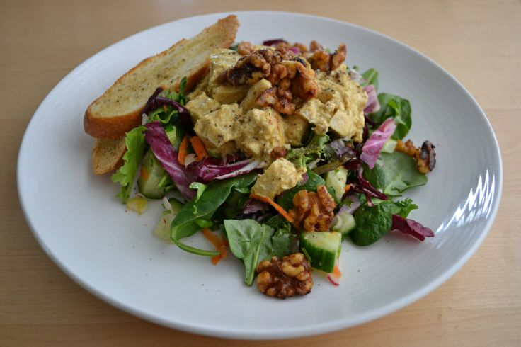 Spring Salad with Curried Chicken and Spiced Nuts