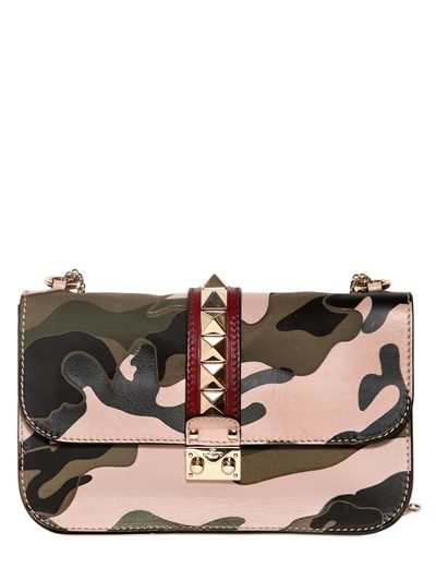 VALENTINO - LARGE LOCK CANVAS & LEATHER SHOULDER BAG
