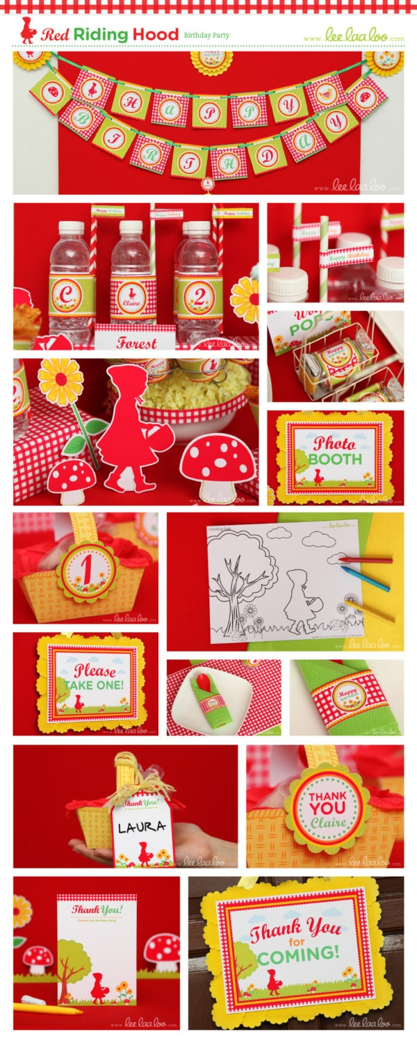 Red Riding Hood Birthday Party Package Personalized Printable Design by leelaaloo.com