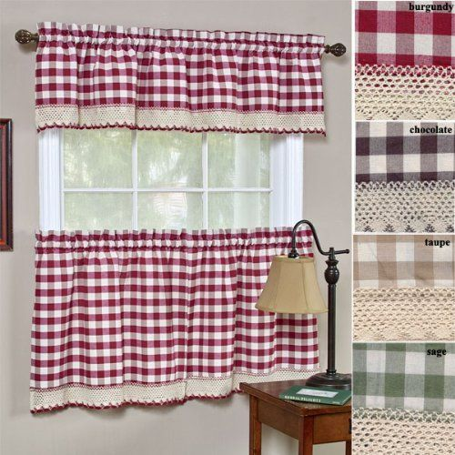 """Buffalo Check Kitchen Tier Curtain 24"""" long - Burgundy color by Achim. $7.55. 60% polyester and 40% cotton - machine washable. Buffalo Check Kitchen Tier Curtain 24"""" long - Burgundy color. Sold as a pair (2 panels are included) is 58'' wide x 24'' long. THESE ARE THE TIER BOTTOMS ONLY - TOP PART IS SOLD SEPARATELY. standard rod pocket. Charming allover check pattern enhanced with macrame lace border trim"""