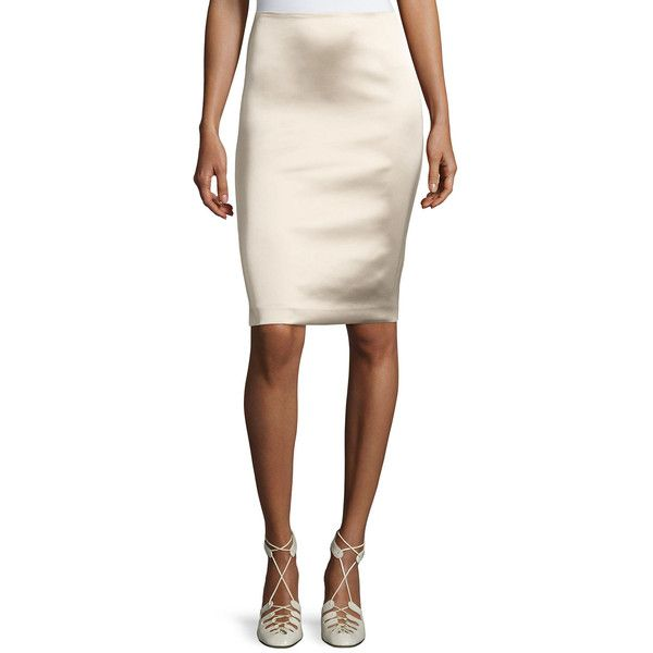 The Row Brenner Satin Pencil Skirt ($550) ❤ liked on Polyvore featuring skirts, khaki, satin pencil skirt, stretch skirts, stretchy pencil skirt, khaki pencil skirts and knee length skirts