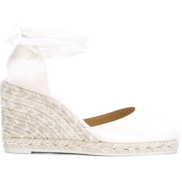 Castañer Wedge Espadrilles ($94) ❤ liked on Polyvore featuring shoes, sandals, white, wedge espadrilles, wedge heel sandals, wedge sandals, white wedge shoes and castaner sandals