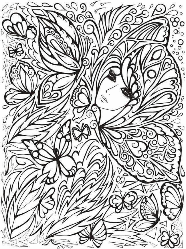 Creative Haven Fanciful Faces Coloring Book Dover Publications Samples