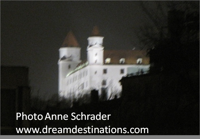Bratislava Castle at night.  Initially a Roman frontier post, there has been a castle at this site since the 9th century.