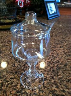 <3 Hot glue a jar to a candlestick. Dixie of all Trades: Dollar store apothecary jar