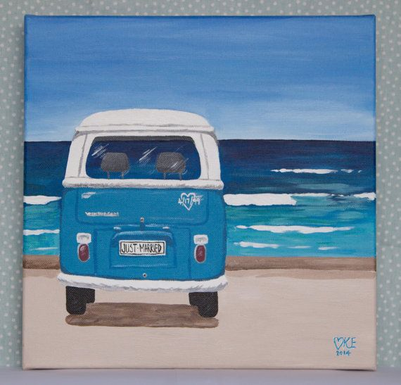 Personalized Wedding or Anniversary Sign, VW Kombi at the beach. From kookookachooart.etsy.com