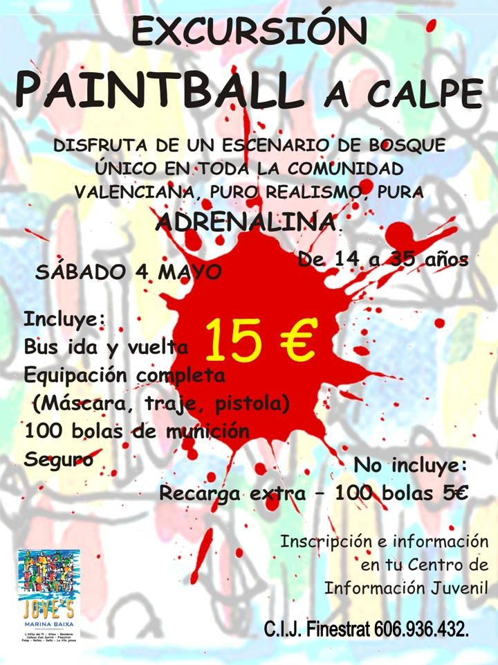 Excursión Paintball a Calpe el 4 de Mayo! Anímate!