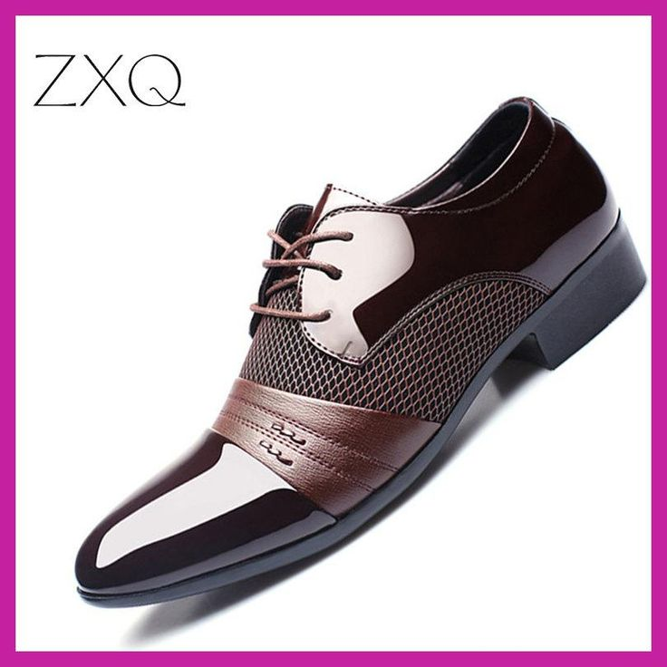 ZXQ Men Dress Shoes Plus Size 38-47 Men Business Flat Shoes Black Brown Breathable Low Top Men Formal Office Shoes