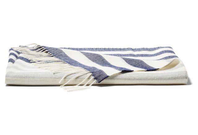 Bold Stripe Throw, Navy