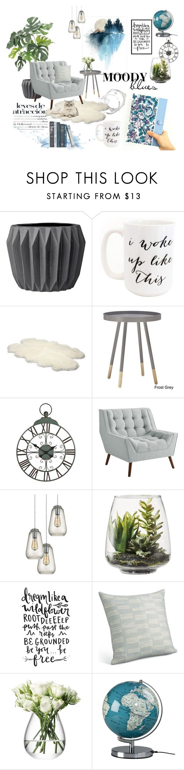 """""""Moody Blues"""" by iwona-estera on Polyvore featuring interior, interiors, interior design, home, home decor, interior decorating, Moon and Lola, UGG Australia, Pier 1 Imports and Dot & Bo"""