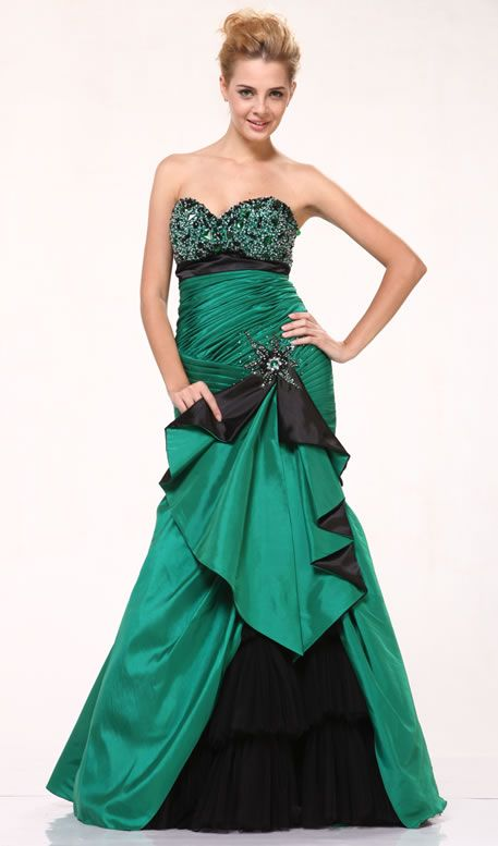 Green Mermaid Prom Dress Strapless Beading Empire Ruched Bodice