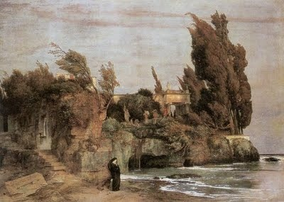 """painting by Arnold Bocklin, entitled """"Philosopher's Landscape"""""""