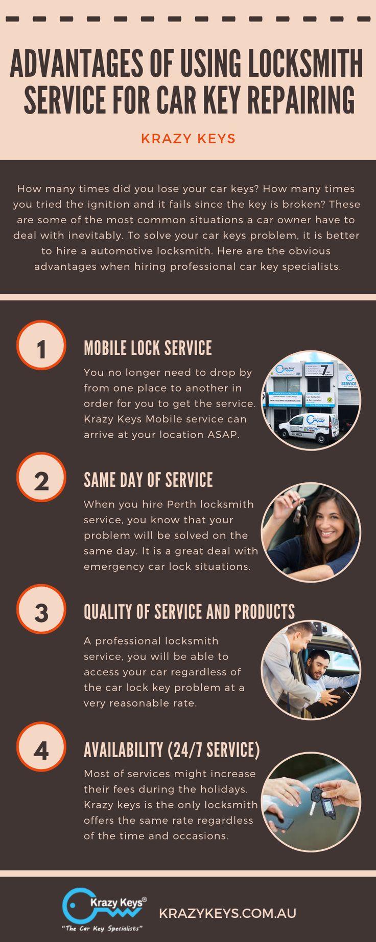 Advantages of using locksmith service for car key