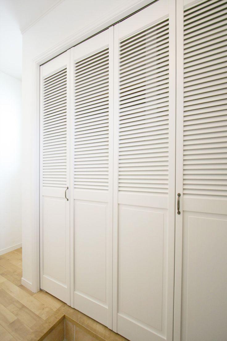 室内ドア/クローゼット/収納/ルーバー/白/ドア/扉/インテリア/ナチュラルインテリア/注文住宅/施工例/ジャストの家/door/interior/house/homedecor/housedesign