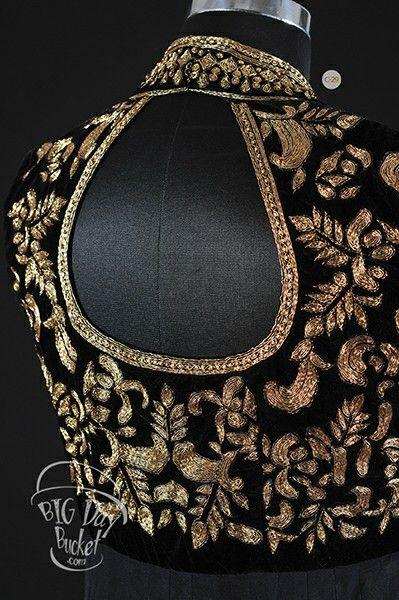 Black velvet with gold work