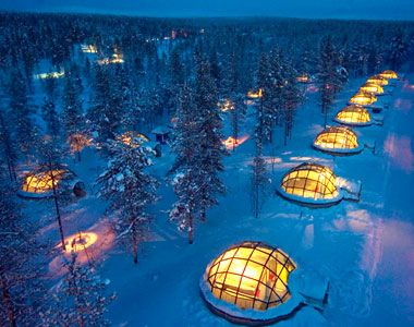 Glass Igloos complete with your own sauna at the Hotel & Igloo