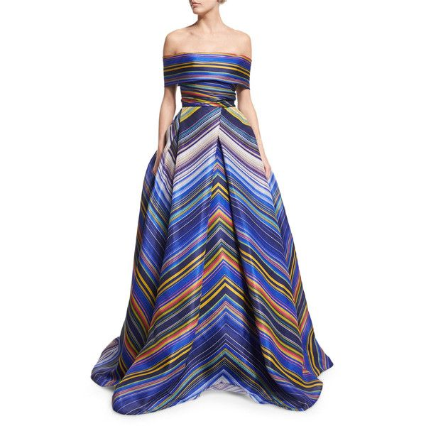 Naeem Khan Off-The-Shoulder Striped Ball Gown (111,415 MXN) ❤ liked on Polyvore featuring dresses, gowns, blue multi, off the shoulder gown, ball gowns, chevron dress, striped dress and ball dresses