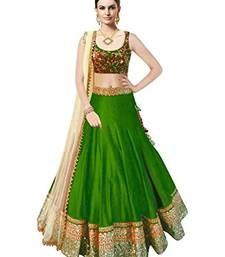 Buy Green embroidered art silk unstitched lehenga ghagra-choli online