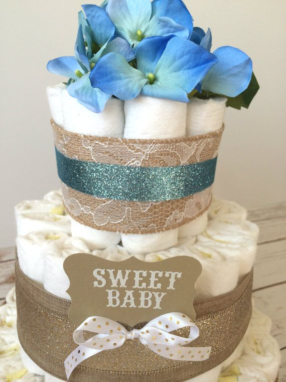 Shabby Chic Blue Sparkle Diaper Cake Baby Boy Little Man