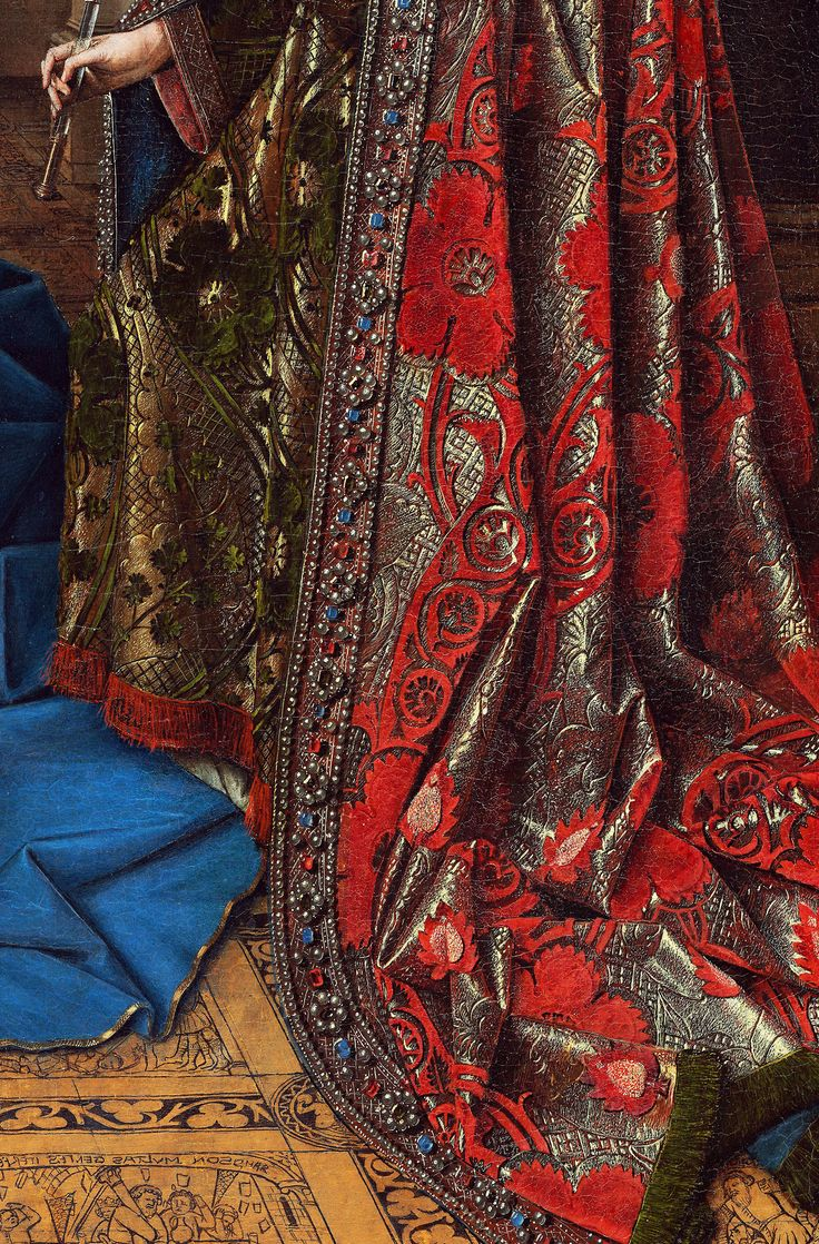Embroidered robe painted by Netherlandish painter, Jan van Eyck. Detail from The Annunciation, 1435.