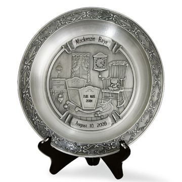 Pewter Baby Birth Celebration Plate Price: $88 #BlissLiving #Birth #BabyGift