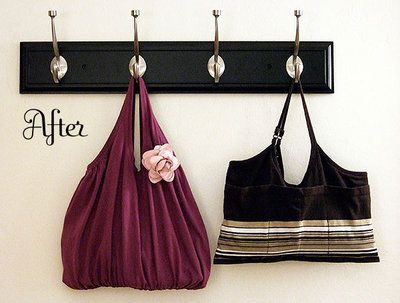 These are handbags made from re-purposed tank tops.