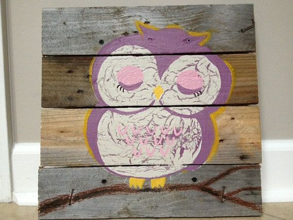 Wall Decor 20x20 : Owl pallet art pink purple rustic wall decor