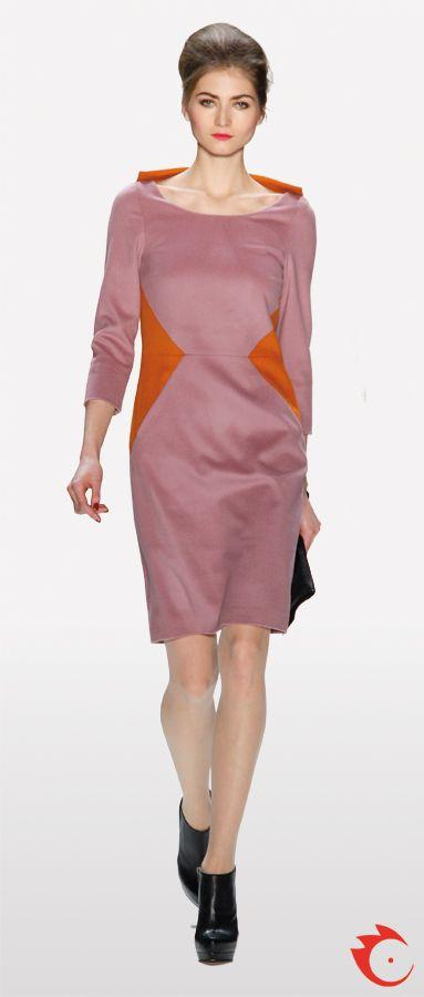 anja gockel stylish rosy dress with orange details