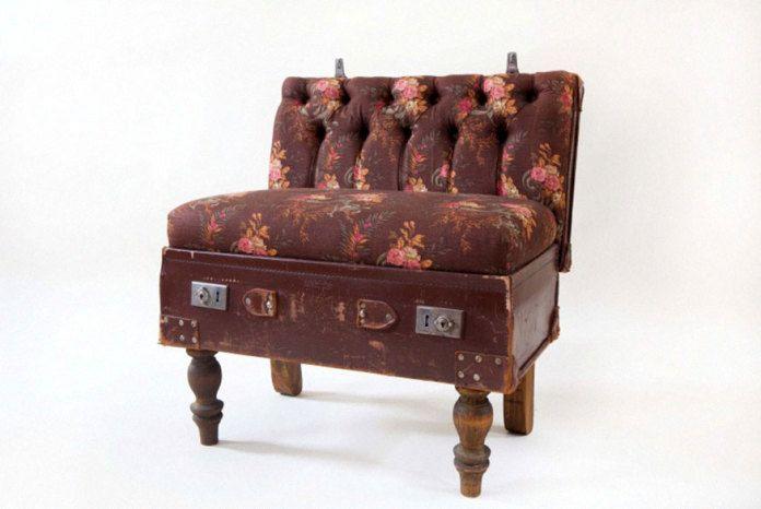 винтажное кресло из старого чемодана