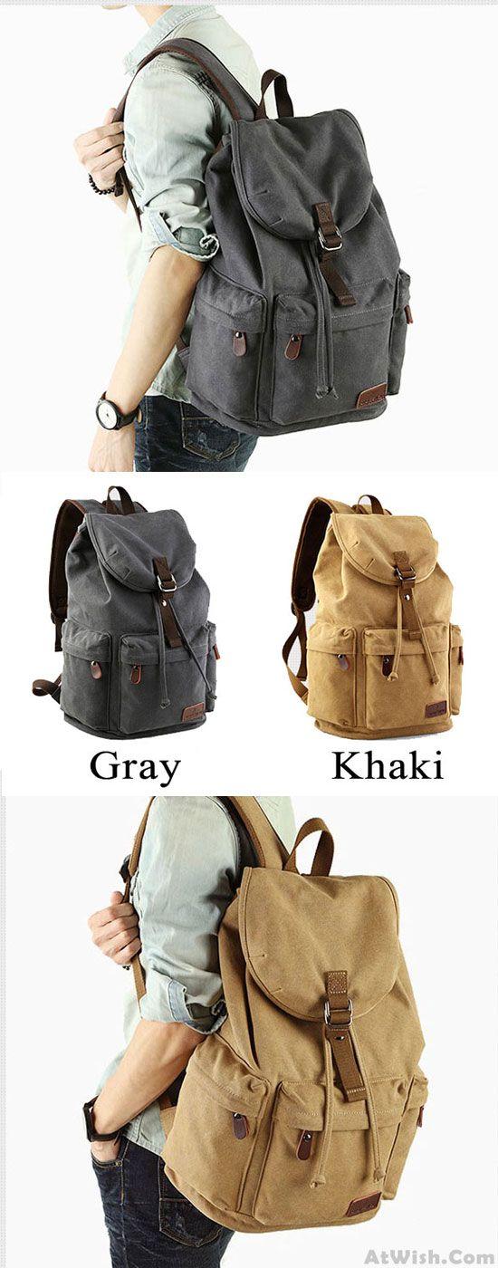 Leisure Drawstring Large Capacity Rucksack With USB Interface Flap Camping Travel Canvas Backpack for big sale! #canvas #travel #backpack #camping #rucksack #bag